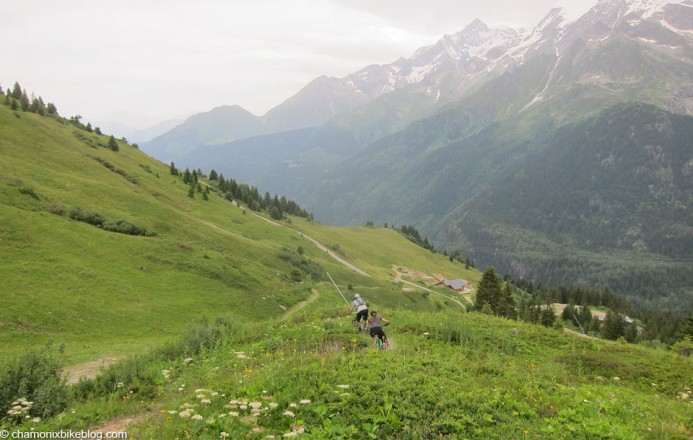 High up in Les Contamines on the trail from the Chalets de Roselette