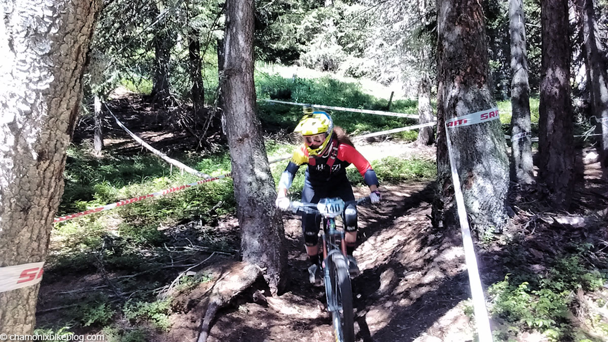 Nina helping wear in the loam on stage 5 practice.