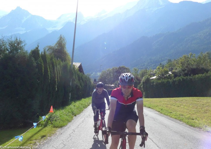 It's aa smiles as we cruise through Les Houches. The saddle hasn't attacked yet.