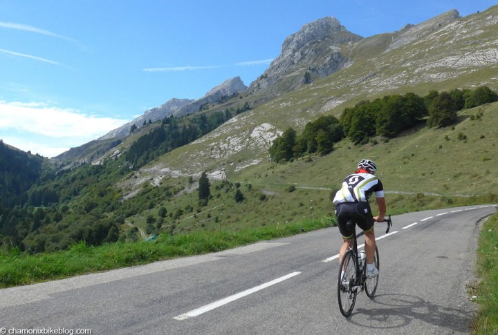 Some random cyclist heading for the Col de la Colombiere. Who obviously I chased down and beat to the col.