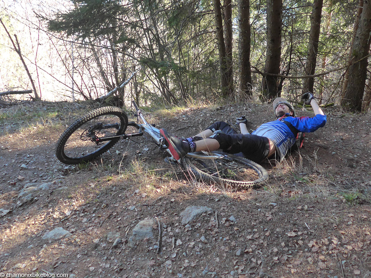 Spence has some of the best technique of anyone I ride with, which makes this crash photo about as rare as rocking horse poo.