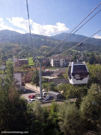 Out of the Aosta lift station, over the motorway, and up the mountain